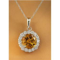 1.82 CTW Citrine 14K White Gold Diamond Necklace