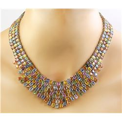 228.00 CTW Sapphire 18K White Gold Necklace