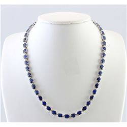 34.98 CTW Natural Sapphire And Diamond Necklace In 18K White Gold