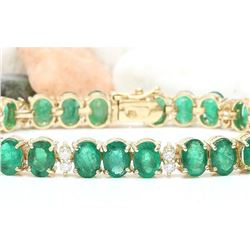 34.68 CTW Natural Emerald 14K Solid Yellow Gold Diamond Bracelet