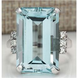 16.42 CTW Natural Blue Aquamarine Diamond Ring 14K Solid White Gold