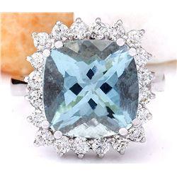 7.01 CTW Natural Aquamarine 18K Solid White Gold Diamond Ring