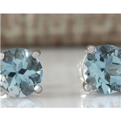 1.18 CTW Natural Aquamarine Earrings 18K Solid White Gold
