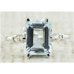 2.60 CTW Aquamarine 14K White Gold Diamond Ring