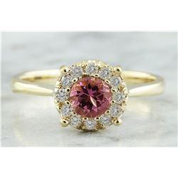 0.72 CTW Tourmaline 14K Yellow Gold Diamond Ring