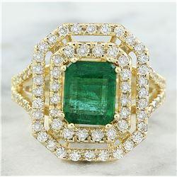 3.25 CTW Emerald 14K Yellow Gold Diamond Ring