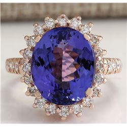 8.65 CTW Natural Blue Tanzanite And Diamond Ring 18K Solid Rose Gold