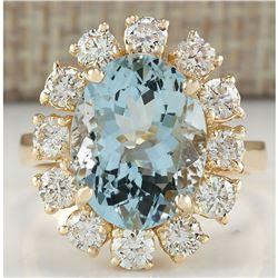 6.71 CTW Natural Aquamarine And Diamond Ring 14K Solid Yellow Gold