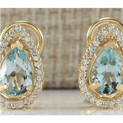 2.76 CTW Natural Aquamarine And Diamond Earrings 18K Solid Yellow Gold
