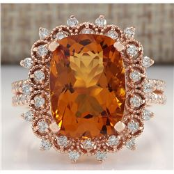 6.39 CTW Natural Madeira Citrine And Diamond Ring 18K Solid Rose Gold