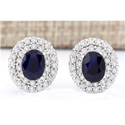 3.90 CTW Natural Sapphire And Diamond Earrings 18K Solid White Gold