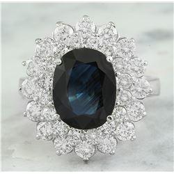 4.97 CTW Sapphire 18K White Gold Siamond Ring
