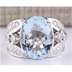7.97 CTW Natural Aquamarine And Diamond Ring In 18K White Gold