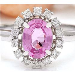 1.43 CTW Natural Sapphire 18K Solid White Gold Diamond Ring