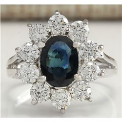 2.83 CTW Natural Blue Sapphire Diamond Ring 18K Solid White Gold