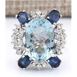 11.57 CTW Natural Aquamarine, Sapphire And Diamond Ring In 18K White Gold