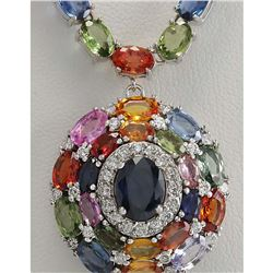 46.99 CTW Natural Ceylon Sapphire And Diamond Necklace In 14K White Gold