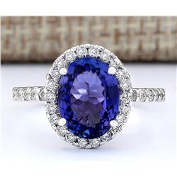 3.63 CTW Natural Blue Tanzanite And Diamond Ring 14k Solid White Gold