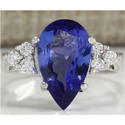 3.39 CTW Natural Blue Tanzanite And Diamond Ring In 18K White Gold