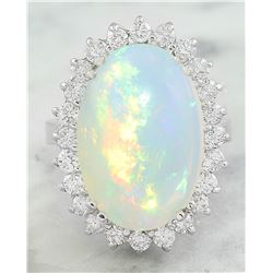 9.15 CTW Opal 18K White Gold Diamond Ring