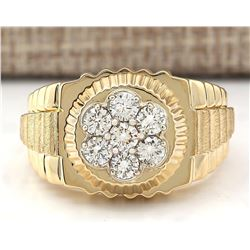 1.00 CTW Natural Mens Rolex Diamond Ring 18K Solid Yellow Gold