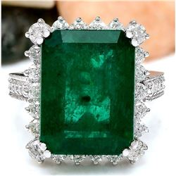 11.13 CTW Natural Emerald 14K Solid White Gold Diamond Ring