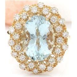 6.40 CTW Natural Aquamarine 14K Solid Yellow Gold Diamond Ring