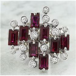 3.30 CTW Ruby 14K White Gold Diamond Ring