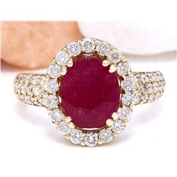 3.98 CTW Natural Ruby 14K Solid Yellow Gold Diamond Ring