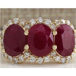 6.82 CTW Natural Red Ruby And Diamond Ring 18K Solid Yellow Gold