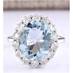 7.01 CTW Natural Aquamarine And Diamond Ring In 14k White Gold