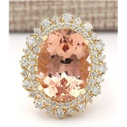 13.70 CTW Natural Morganite And Diamond Ring In 18K Solid Yellow Gold