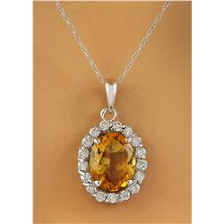 2.00 CTW Citrine 18K White Gold Diamond Necklace