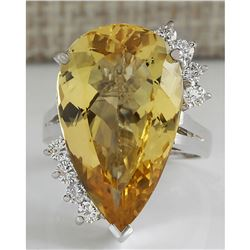 12.50 CTW Natural Yellow Beril And Diamond Ring In 18K Solid White Gold