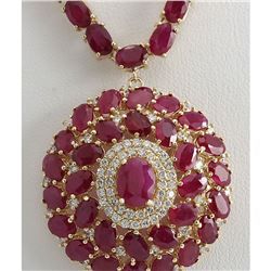 58.96 CTW Natural Ruby And Diamond Necklace In 14K Yellow Gold