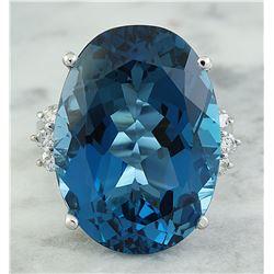 25.30 CTW Topaz 14K White Gold Diamond ring