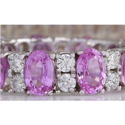 7.71 CTW Natural Pink Ceylon Sapphire Diamond Ring 18K Solid White Gold