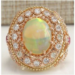 7.71 CTW Natural Opal And Diamond Ring In 18K Solid Yellow Gold