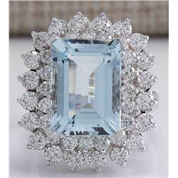 9.17 CTW Natural Aquamarine And Diamond Ring In 18K White Gold