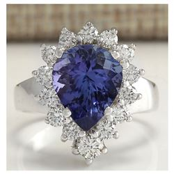 5.10 CTW Natural Tanzanite And Diamond Ring 18K Solid White Gold