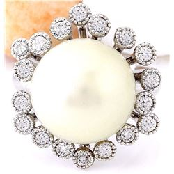 14.65 mm White South Sea Pearl 14K Solid White Gold Diamond Ring