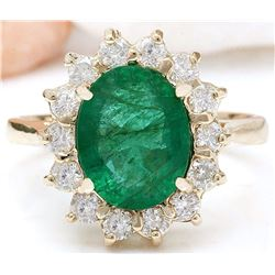 2.83 CTW Natural Emerald 14K Solid Yellow Gold Diamond Ring
