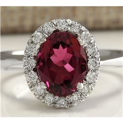 2.35 CTW Natural Pink Tourmaline And Diamond Ring 18K Solid White Gold