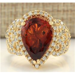 8.20 CTW Natural Madeira Citrine And Diamond Ring In 14K Yellow Gold