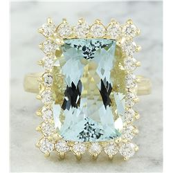 9.35 CTW Aquamarine 14K Yellow Gold Diamond Ring