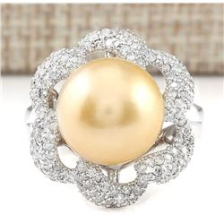 1.00 CTW Natural 11.95mm Gold South Sea Pearl Diamond Ring 14k White Gold