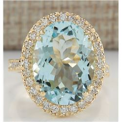 9.33 CTW Natural Blue Aquamarine And Diamond Ring In 18K Yellow Gold
