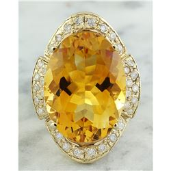 17.06 CTW Citrine 14K yellow Gold Diamond Ring