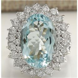 9.74 CTW Natural Aquamarine And Diamond Ring In 18K Solid White Gold