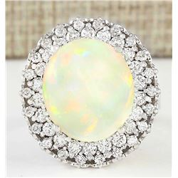 11.59 CTW Natural Opal And Diamond Ring In 18K White Gold